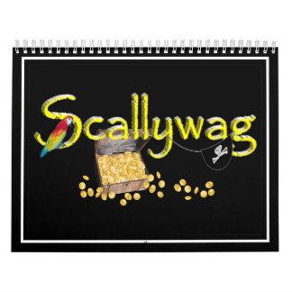 Texto de Scallywag con el pecho y el loro del Calendarios De Pared