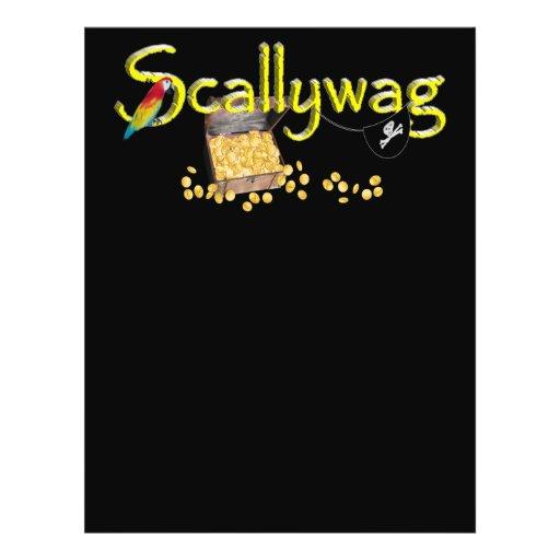 Texto de Scallywag con el pecho y el loro del pira Tarjetones