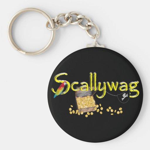 Texto de Scallywag con el pecho y el loro del pira Llaveros Personalizados