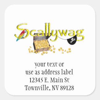 Texto de SCALLYWAG con el remiendo del pecho y del Colcomanias Cuadradas Personalizadas