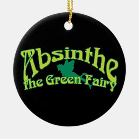 Texto del ajenjo la hada verde adorno navideño redondo de cerámica