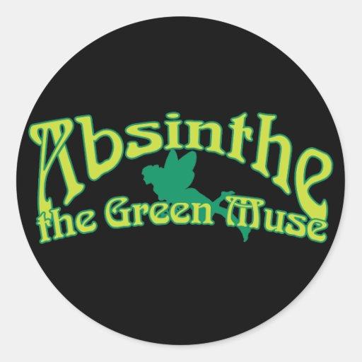 Texto del ajenjo la musa verde pegatina redonda