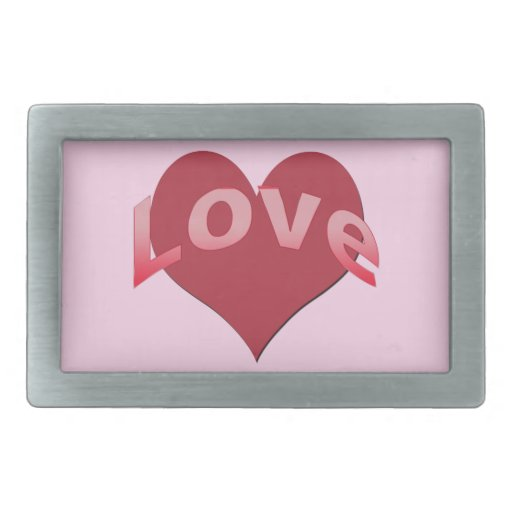 Texto del amor con el corazón hebilla cinturon rectangular
