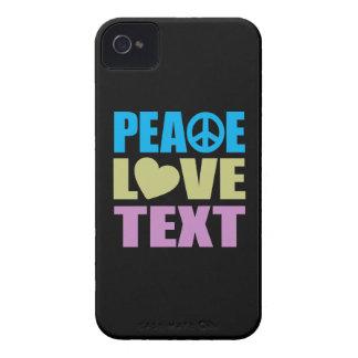 Texto del amor de la paz iPhone 4 Case-Mate carcasa