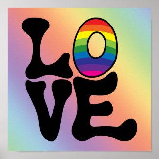 Texto del amor del arco iris del Hippie Póster
