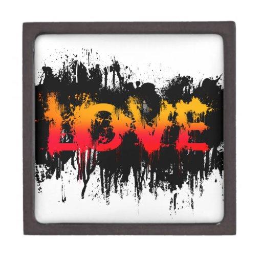 Texto del amor del chapoteo cajas de regalo de calidad