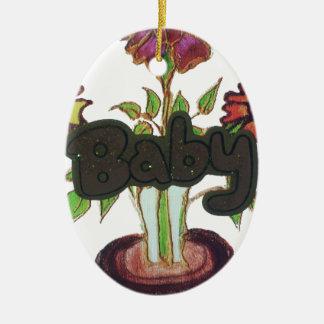 Texto del bebé que oculta plant.png adorno ovalado de cerámica