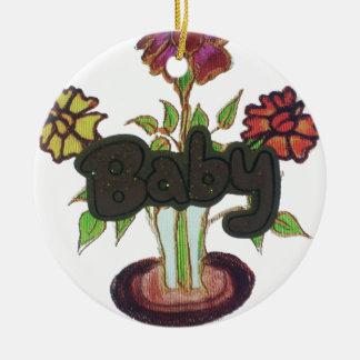 Texto del bebé que oculta plant.png adorno redondo de cerámica