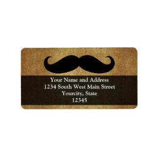 Texto del bigote w Custom del vintage Etiquetas De Dirección