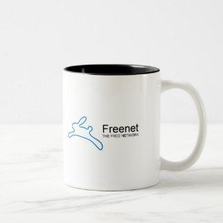 Texto del conejito del freenet taza de café de dos colores