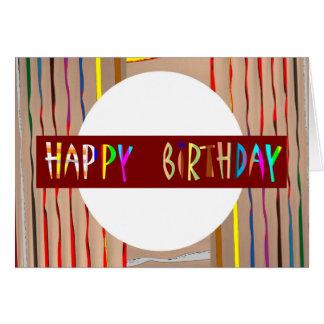 Texto del FELIZ cumpleaños: Arte colorido del fila Tarjeton