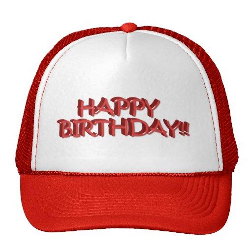 Texto del feliz cumpleaños - rojo gorras de camionero