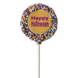 Texto del feliz Halloween en púrpura