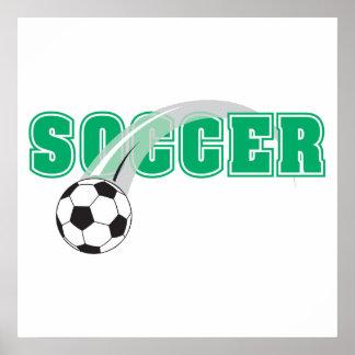 texto del fútbol con diseño de la bola póster
