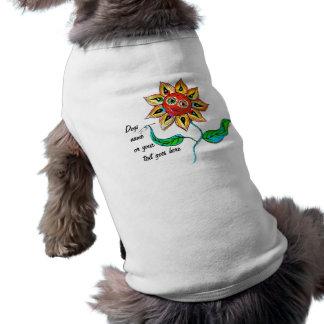 Texto del girasol de la camisa del mascota ropa de perro