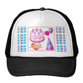 Texto del globo n de la torta de HappyBIRTHDAY Gorros Bordados