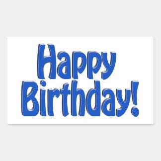 Texto del HOBO del feliz cumpleaños - azul Pegatina Rectangular