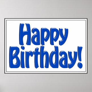 Texto del HOBO del feliz cumpleaños - azul Póster