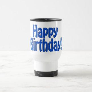 Texto del HOBO del feliz cumpleaños - azul Taza