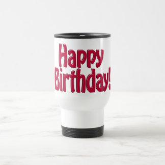 Texto del HOBO del feliz cumpleaños - rojo Taza De Café