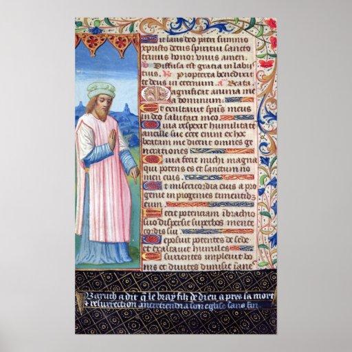 Texto del Magnificat con un retrato de Poster