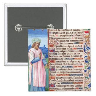 Texto del Magnificat con un retrato de Pin Cuadrado