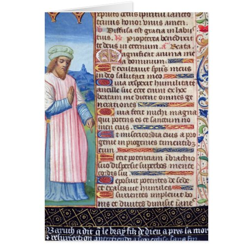 Texto del Magnificat con un retrato de Tarjeton