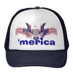'texto del merica con el águila y la bandera ameri gorras