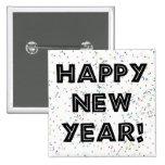 Texto del negro de la Feliz Año Nuevo Pins
