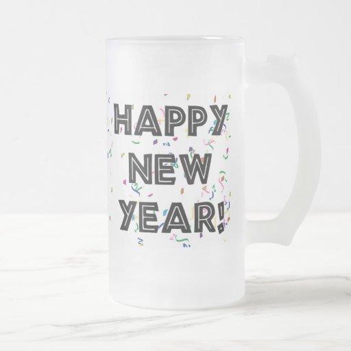 Texto del negro de la Feliz Año Nuevo Tazas De Café