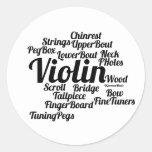 Texto del negro de la nube de la palabra del violí pegatinas