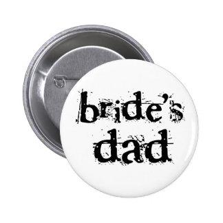 Texto del negro del papá de la novia pin redondo 5 cm