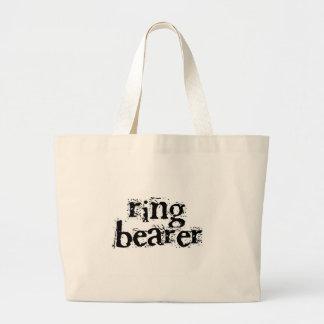 Texto del negro del portador de anillo bolsa tela grande