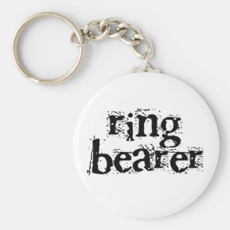 Texto del negro del portador de anillo llaveros personalizados