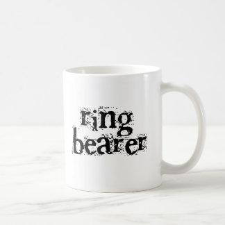Texto del negro del portador de anillo tazas de café