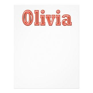Texto del nombre del chica de OLIVIA Membretes Personalizados