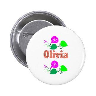 Texto del nombre del chica de OLIVIA Pin Redondo De 2 Pulgadas