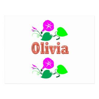 Texto del nombre del chica de OLIVIA Postales
