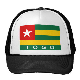 texto del nombre del símbolo de la bandera de país gorros