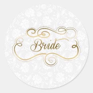 Texto del oro de la novia y marco elegantes de pegatina redonda