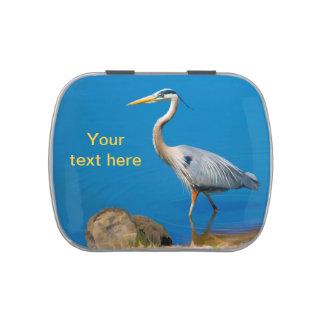 Texto del personalizable del pájaro de la garza de latas de caramelos