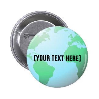 Texto del personalizado del fondo del globo de la  pin redondo de 2 pulgadas