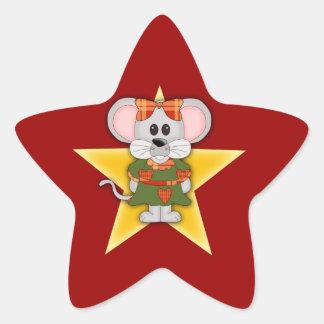 Texto del personalizado del ratón del navidad del pegatina en forma de estrella
