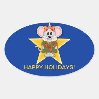 Texto del personalizado del ratón del navidad del pegatina ovalada
