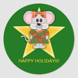 Texto del personalizado del ratón del navidad del pegatina redonda