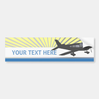 Texto del personalizar - aeroplano del ala baja etiqueta de parachoque