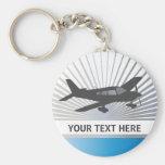 Texto del personalizar - aeroplano del ala baja llaveros personalizados