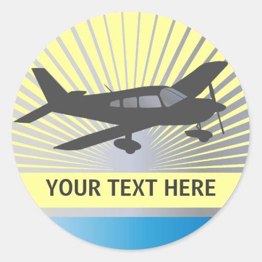 Texto del personalizar - aeroplano del ala baja pegatina redonda