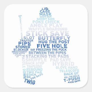 Texto del portero del hockey calcomanias cuadradas
