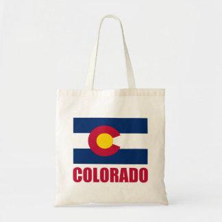 Texto del rojo de la bandera de Colorado Bolsa Tela Barata